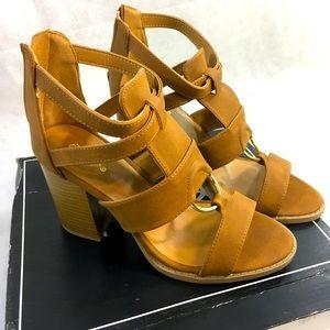 Brown Qupid Heeled Sandals